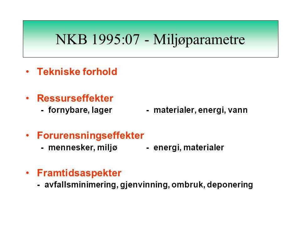NKB 1995:07 - Formål Formålet med rapporten er å gi en sammenlignende og evaluert oversikt over miljøinformasjon for konkrete bygningsmaterialer. Milj