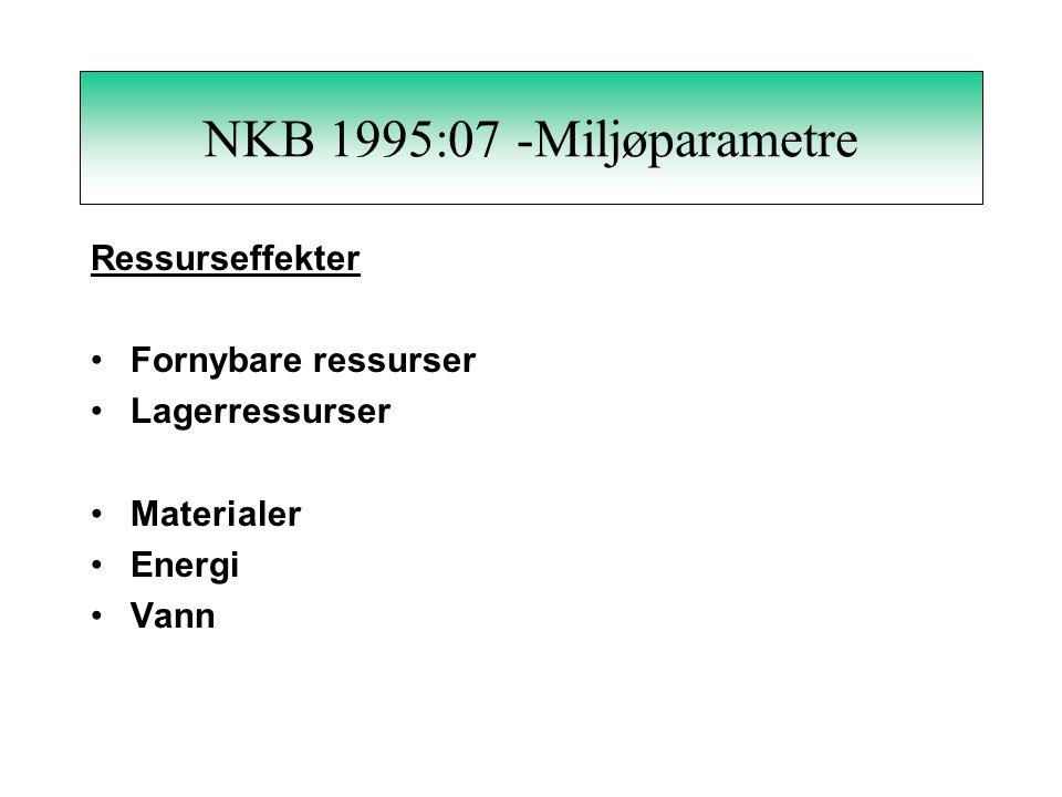 NKB 1995:07 - Miljøparametre Tekniske forhold Ressurseffekter - fornybare, lager- materialer, energi, vann Forurensningseffekter - mennesker, miljø- e