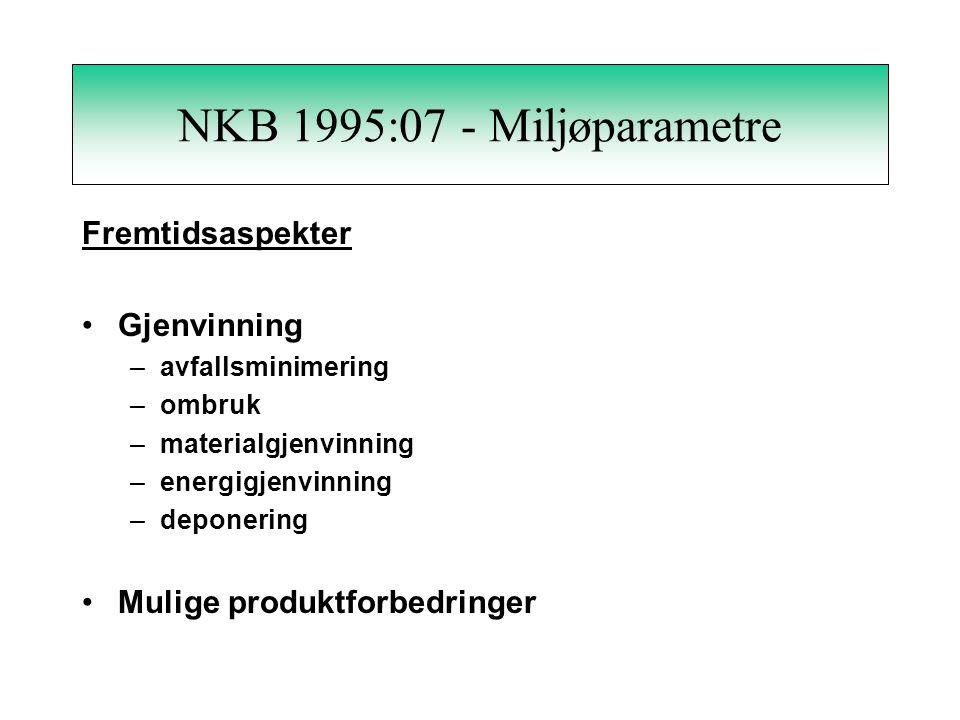 NKB 1995:07 - Miljøparametre Forurensingseffekter Effekter på mennesker Effekter på miljøet Energiforurensinger Materialforurensinger