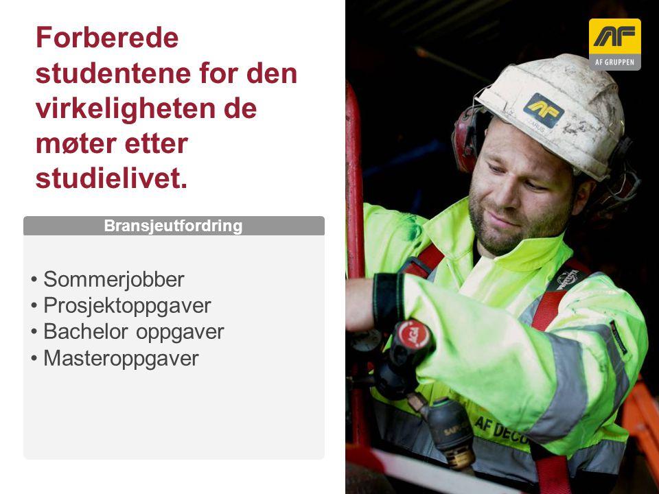 Sogn Arena Kolonnetittel Bransjeutfordring Sommerjobber Prosjektoppgaver Bachelor oppgaver Masteroppgaver Forberede studentene for den virkeligheten d