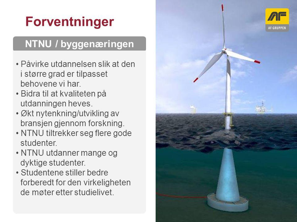 Sogn Arena Kolonnetittel NTNU / byggenæringen Forventninger Påvirke utdannelsen slik at den i større grad er tilpasset behovene vi har. Bidra til at k