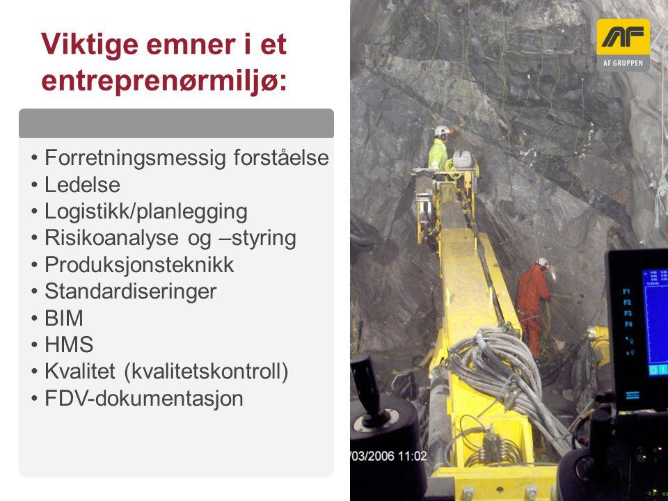 Sogn Arena Viktige emner i et entreprenørmiljø: Kolonnetittel Forretningsmessig forståelse Ledelse Logistikk/planlegging Risikoanalyse og –styring Pro