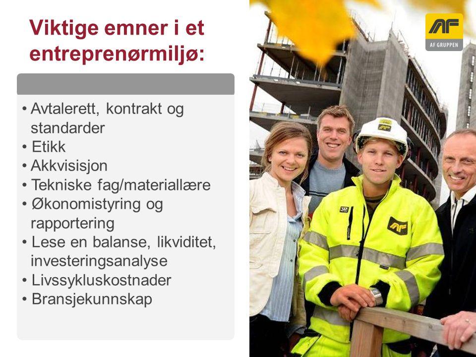 Sogn Arena Viktige emner i et entreprenørmiljø: Kolonnetittel Avtalerett, kontrakt og standarder Etikk Akkvisisjon Tekniske fag/materiallære Økonomist