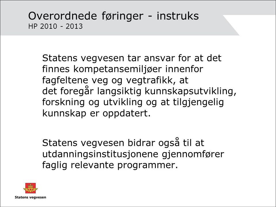 Overordnede føringer Statens vegvesen skal ha rett og tilstrekkelig kompetanse ifh de krav samfunnet stiller til oss til enhver tid.