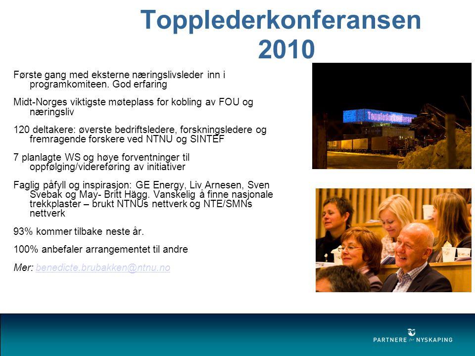 Topplederkonferansen 2010 Første gang med eksterne næringslivsleder inn i programkomiteen.