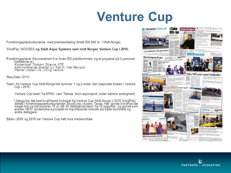 Venture Cup Forretningsplankonkurranse med premieutdeling (totalt 300.000 kr.