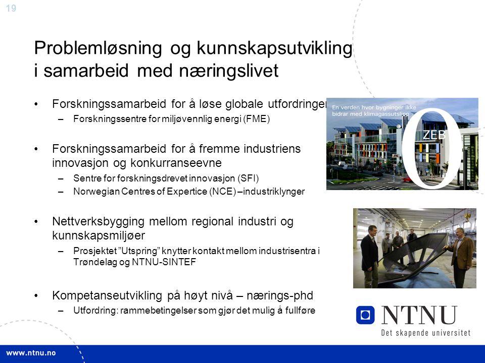 19 Problemløsning og kunnskapsutvikling i samarbeid med næringslivet Forskningssamarbeid for å løse globale utfordringer –Forskningssentre for miljøvennlig energi (FME) Forskningssamarbeid for å fremme industriens innovasjon og konkurranseevne –Sentre for forskningsdrevet innovasjon (SFI) –Norwegian Centres of Expertice (NCE) –industriklynger Nettverksbygging mellom regional industri og kunnskapsmiljøer –Prosjektet Utspring knytter kontakt mellom industrisentra i Trøndelag og NTNU-SINTEF Kompetanseutvikling på høyt nivå – nærings-phd –Utfordring: rammebetingelser som gjør det mulig å fullføre