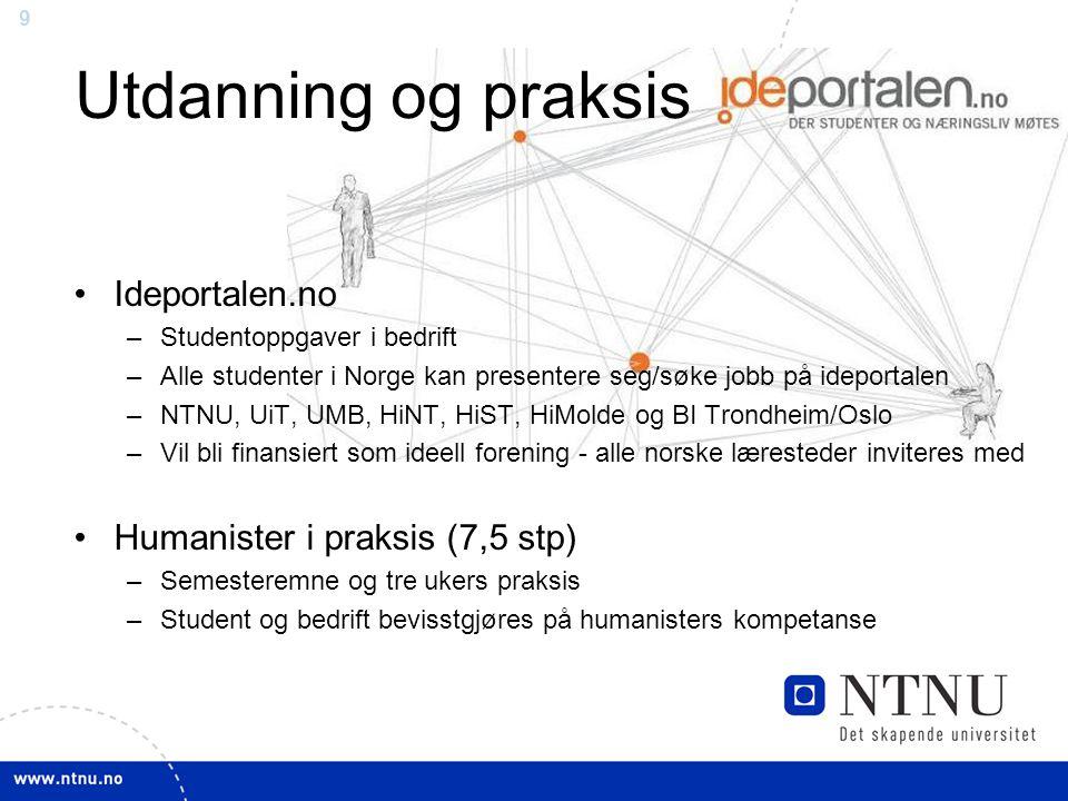 9 Utdanning og praksis Ideportalen.no –Studentoppgaver i bedrift –Alle studenter i Norge kan presentere seg/søke jobb på ideportalen –NTNU, UiT, UMB, HiNT, HiST, HiMolde og BI Trondheim/Oslo –Vil bli finansiert som ideell forening - alle norske læresteder inviteres med Humanister i praksis (7,5 stp) –Semesteremne og tre ukers praksis –Student og bedrift bevisstgjøres på humanisters kompetanse