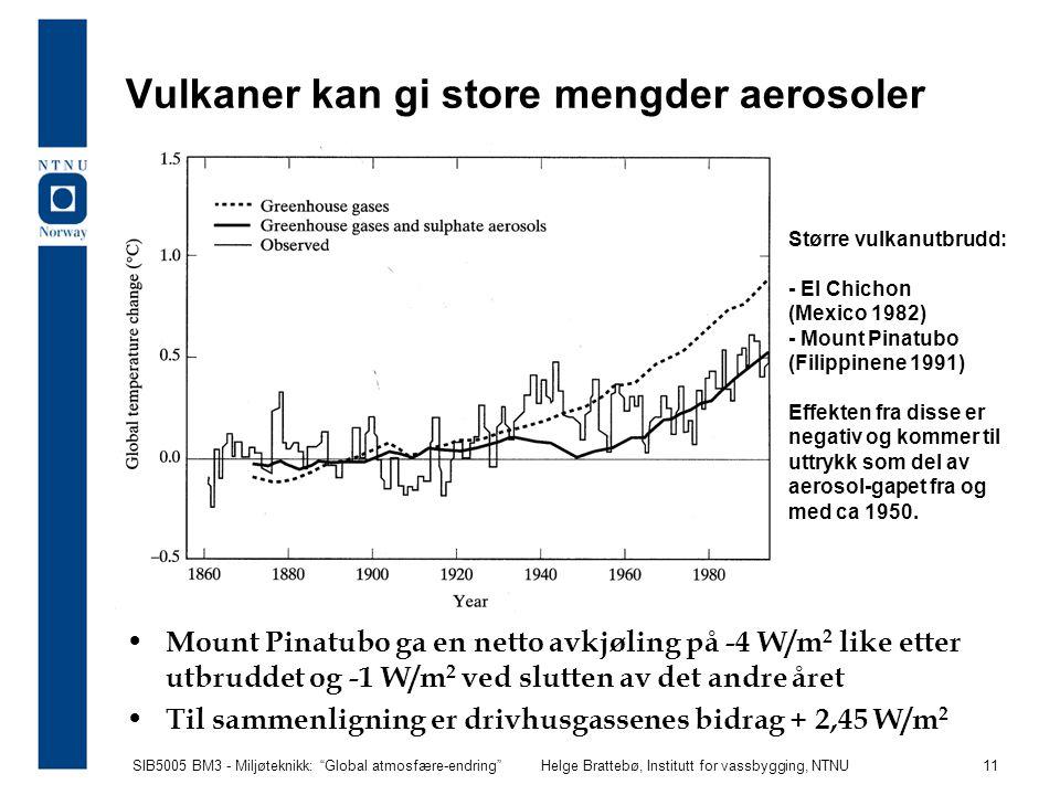 """SIB5005 BM3 - Miljøteknikk: """"Global atmosfære-endring""""Helge Brattebø, Institutt for vassbygging, NTNU 11 Vulkaner kan gi store mengder aerosoler Mount"""