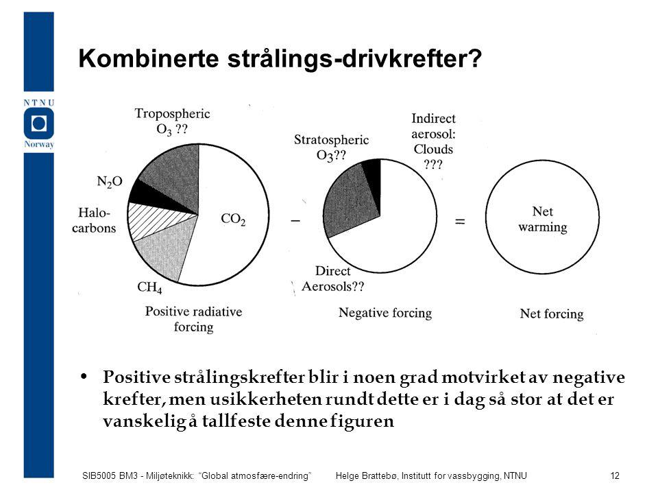 """SIB5005 BM3 - Miljøteknikk: """"Global atmosfære-endring""""Helge Brattebø, Institutt for vassbygging, NTNU 12 Kombinerte strålings-drivkrefter? Positive st"""