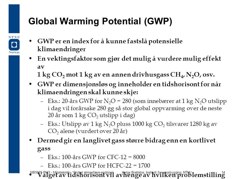 """SIB5005 BM3 - Miljøteknikk: """"Global atmosfære-endring""""Helge Brattebø, Institutt for vassbygging, NTNU 14 Global Warming Potential (GWP) GWP er en inde"""