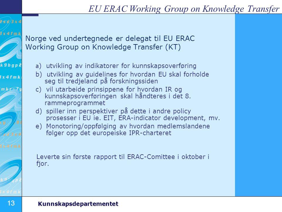 13 Kunnskapsdepartementet EU ERAC Working Group on Knowledge Transfer Norge ved undertegnede er delegat til EU ERAC Working Group on Knowledge Transfe