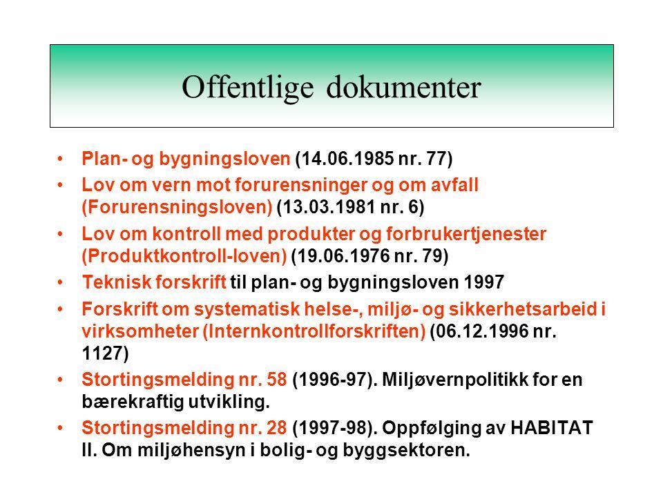 Offentlige dokumenter Plan- og bygningsloven (14.06.1985 nr.
