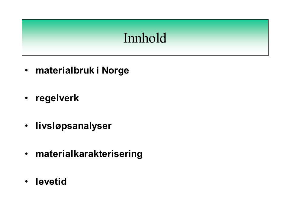 Innhold materialbruk i Norge regelverk livsløpsanalyser materialkarakterisering levetid