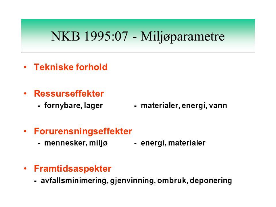 NKB 1995:07 - Miljøparametre Tekniske forhold Ressurseffekter - fornybare, lager- materialer, energi, vann Forurensningseffekter - mennesker, miljø- energi, materialer Framtidsaspekter - avfallsminimering, gjenvinning, ombruk, deponering
