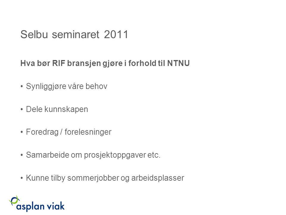 Selbu seminaret 2011 Hva bør RIF bransjen gjøre i forhold til NTNU Synliggjøre våre behov Dele kunnskapen Foredrag / forelesninger Samarbeide om prosjektoppgaver etc.