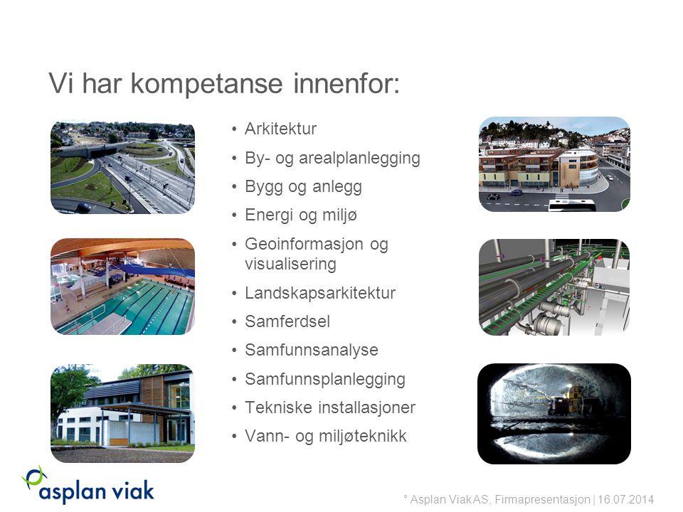 Vi har kompetanse innenfor: Arkitektur By- og arealplanlegging Bygg og anlegg Energi og miljø Geoinformasjon og visualisering Landskapsarkitektur Samferdsel Samfunnsanalyse Samfunnsplanlegging Tekniske installasjoner Vann- og miljøteknikk ° Asplan Viak AS, Firmapresentasjon | 16.07.2014