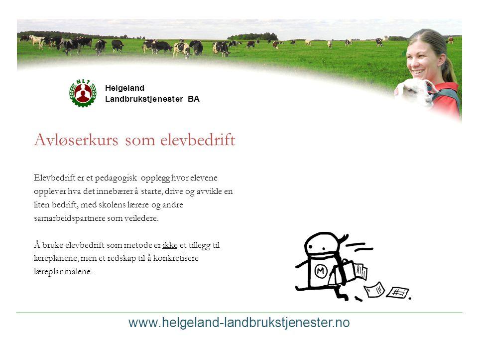 Helgeland Landbrukstjenester BA Avløserkurs som elevbedrift Elevbedrift er et pedagogisk opplegg hvor elevene opplever hva det innebærer å starte, dri