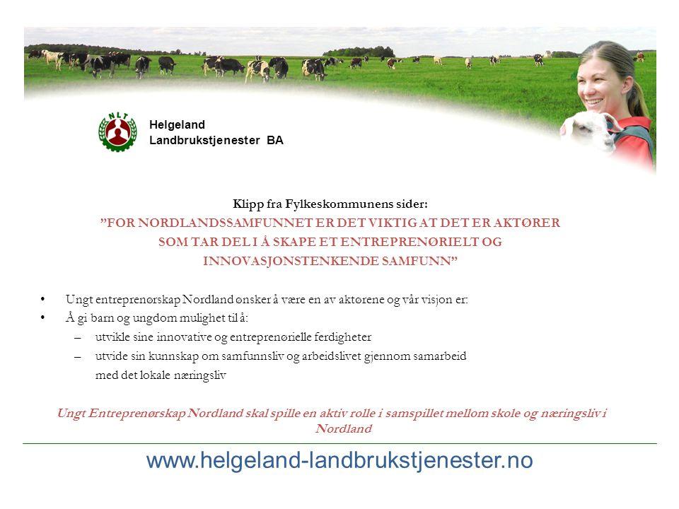 """www.helgeland-landbrukstjenester.no Helgeland Landbrukstjenester BA Klipp fra Fylkeskommunens sider: """"FOR NORDLANDSSAMFUNNET ER DET VIKTIG AT DET ER A"""
