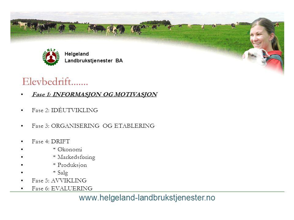 www.helgeland-landbrukstjenester.no Helgeland Landbrukstjenester BA Elevbedrift....... INFORMASJON OG MOTIVASJONFase 1: INFORMASJON OG MOTIVASJON Fase