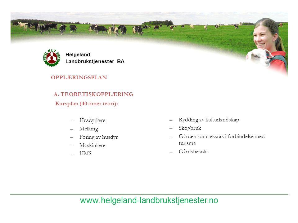 www.helgeland-landbrukstjenester.no Helgeland Landbrukstjenester BA OPPLÆRINGSPLAN A. TEORETISK OPPLÆRING –Rydding av kulturlandskap –Skogbruk –Gården
