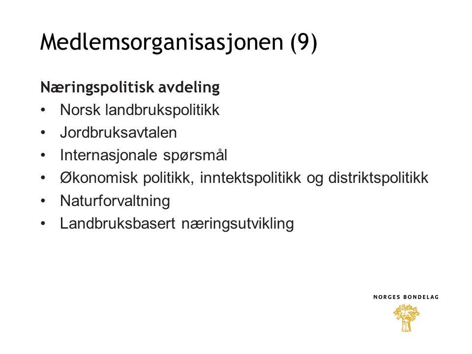 Medlemsorganisasjonen (9) Næringspolitisk avdeling Norsk landbrukspolitikk Jordbruksavtalen Internasjonale spørsmål Økonomisk politikk, inntektspolitikk og distriktspolitikk Naturforvaltning Landbruksbasert næringsutvikling