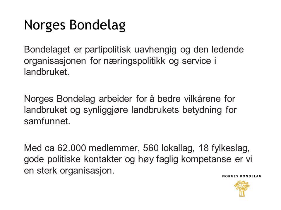 Norges Bondelag Bondelaget er partipolitisk uavhengig og den ledende organisasjonen for næringspolitikk og service i landbruket.