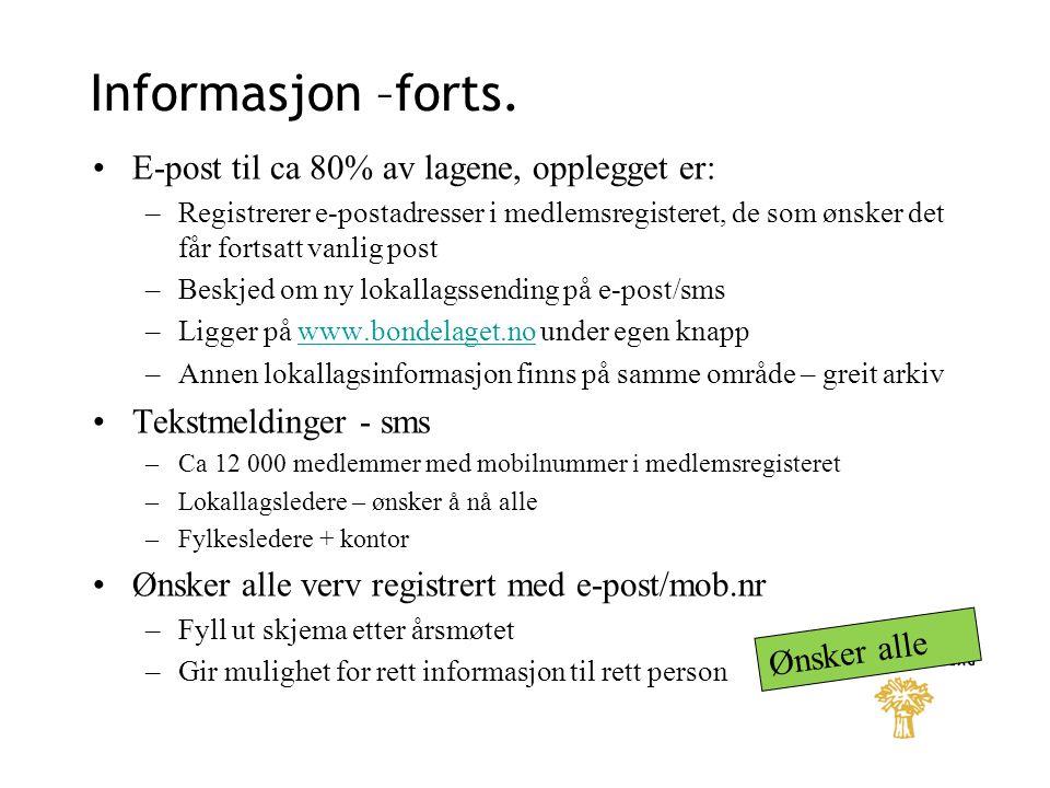 Informasjon –forts. E-post til ca 80% av lagene, opplegget er: –Registrerer e-postadresser i medlemsregisteret, de som ønsker det får fortsatt vanlig