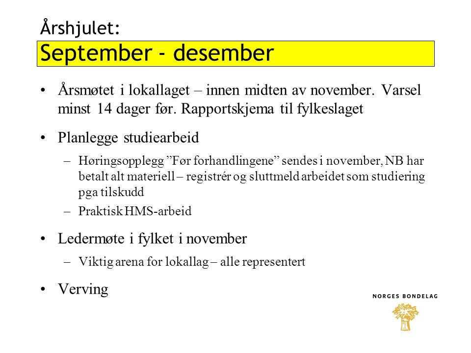 Årshjulet: September - desember Årsmøtet i lokallaget – innen midten av november. Varsel minst 14 dager før. Rapportskjema til fylkeslaget Planlegge s