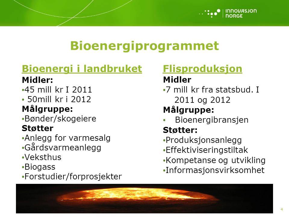 4 Bioenergiprogrammet Bioenergi i landbruket Midler: 45 mill kr I 2011 50mill kr i 2012 Målgruppe: Bønder/skogeiere Støtter Anlegg for varmesalg Gårds
