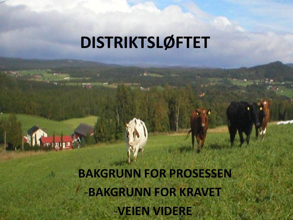 DISTRIKTSLØFTET -BAKGRUNN FOR PROSESSEN -BAKGRUNN FOR KRAVET -VEIEN VIDERE