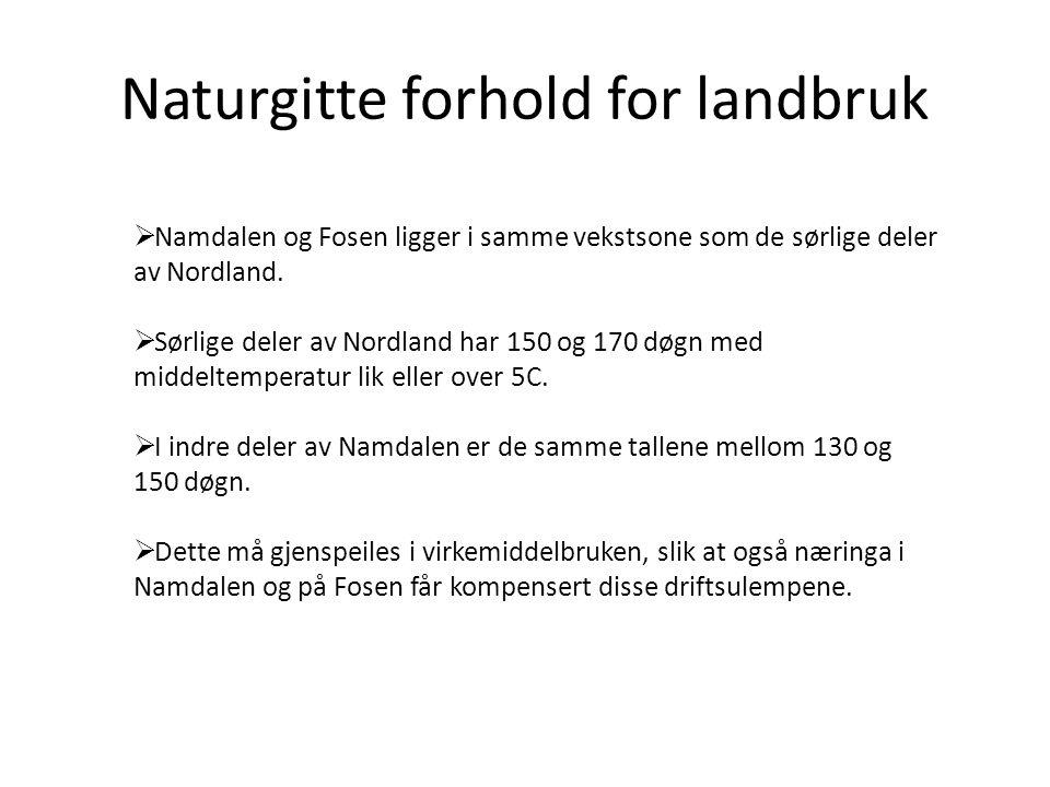 Naturgitte forhold for landbruk  Namdalen og Fosen ligger i samme vekstsone som de sørlige deler av Nordland.