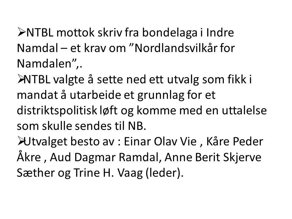  NTBL mottok skriv fra bondelaga i Indre Namdal – et krav om Nordlandsvilkår for Namdalen ,.