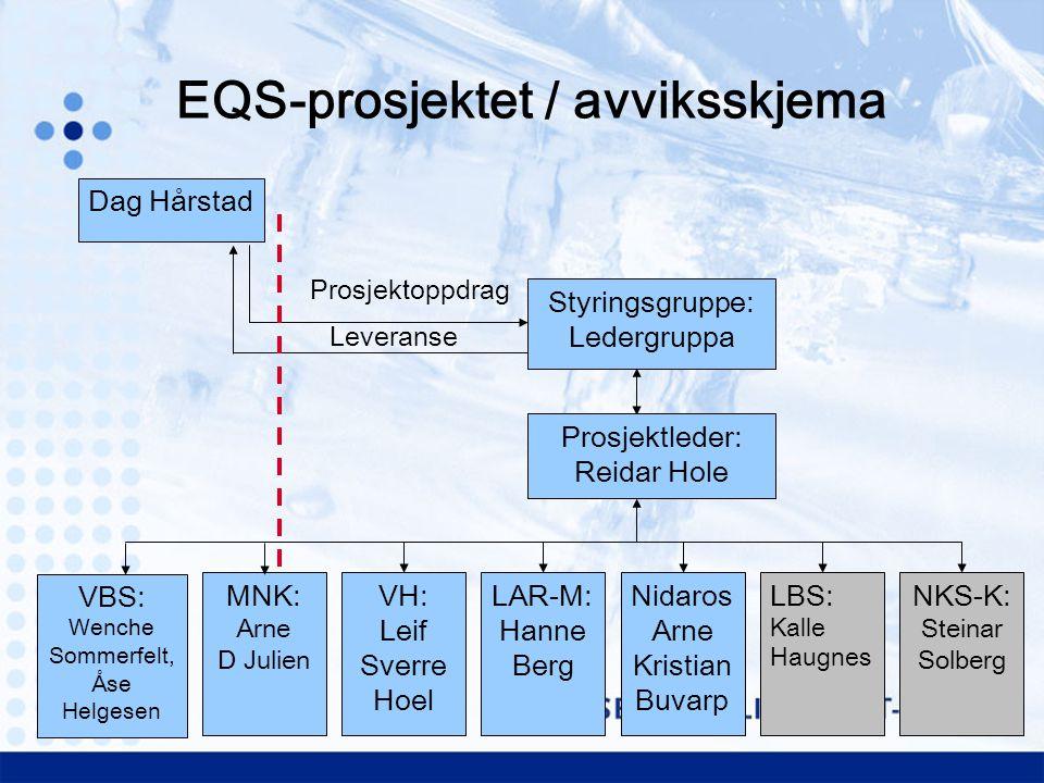 Styringsgruppe: Ledergruppa Dag Hårstad Prosjektoppdrag Leveranse Prosjektleder: Reidar Hole MNK: Arne D Julien VH: Leif Sverre Hoel LAR-M: Hanne Berg