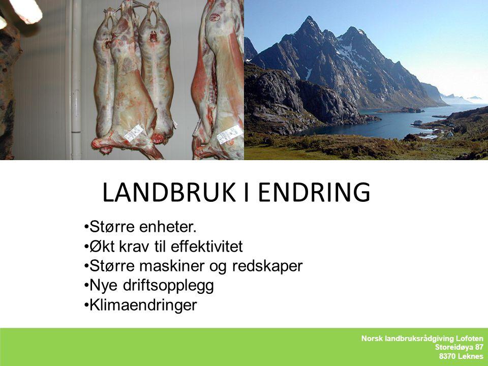 LANDBRUK I ENDRING LOFOTLSAM BA Storeidøya 87 8370 Leknes Større enheter. Økt krav til effektivitet Større maskiner og redskaper Nye driftsopplegg Kli