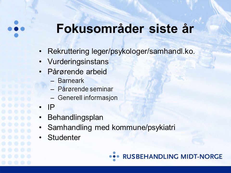Fokusområder siste år Rekruttering leger/psykologer/samhandl.ko.