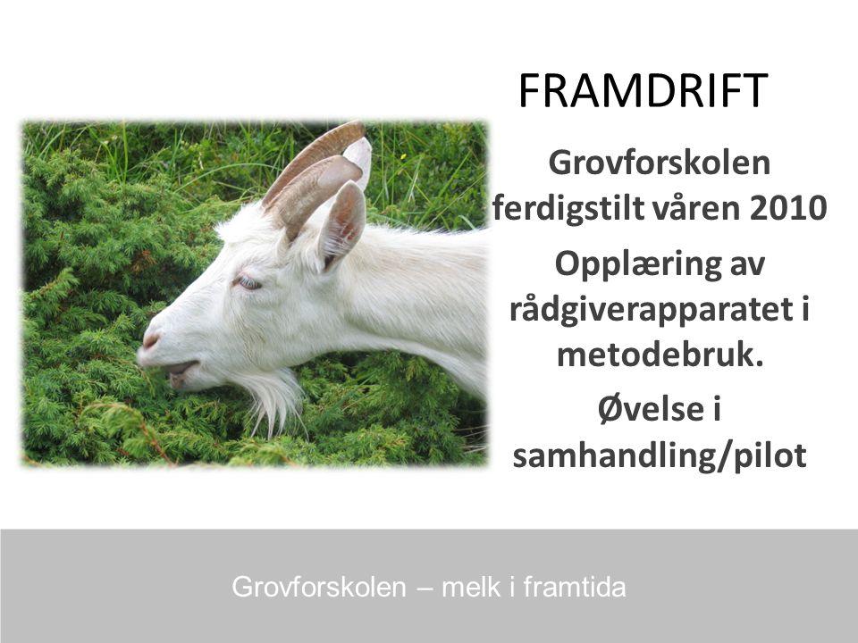 FRAMDRIFT Grovforskolen ferdigstilt våren 2010 Opplæring av rådgiverapparatet i metodebruk.