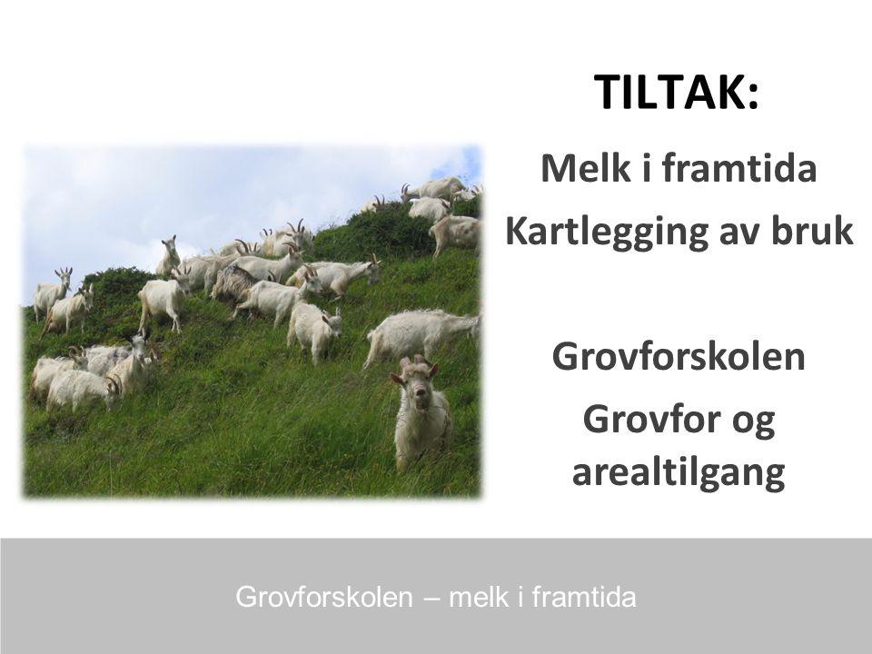 TILTAK: Melk i framtida Kartlegging av bruk Grovforskolen Grovfor og arealtilgang Grovforskolen – melk i framtida