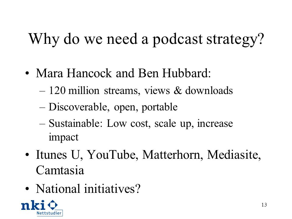 Why do we need a podcast strategy.