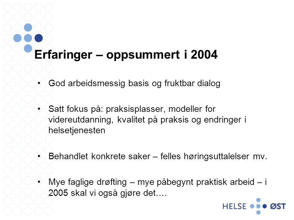 Erfaringer – oppsummert i 2004 God arbeidsmessig basis og fruktbar dialog Satt fokus på: praksisplasser, modeller for videreutdanning, kvalitet på pra