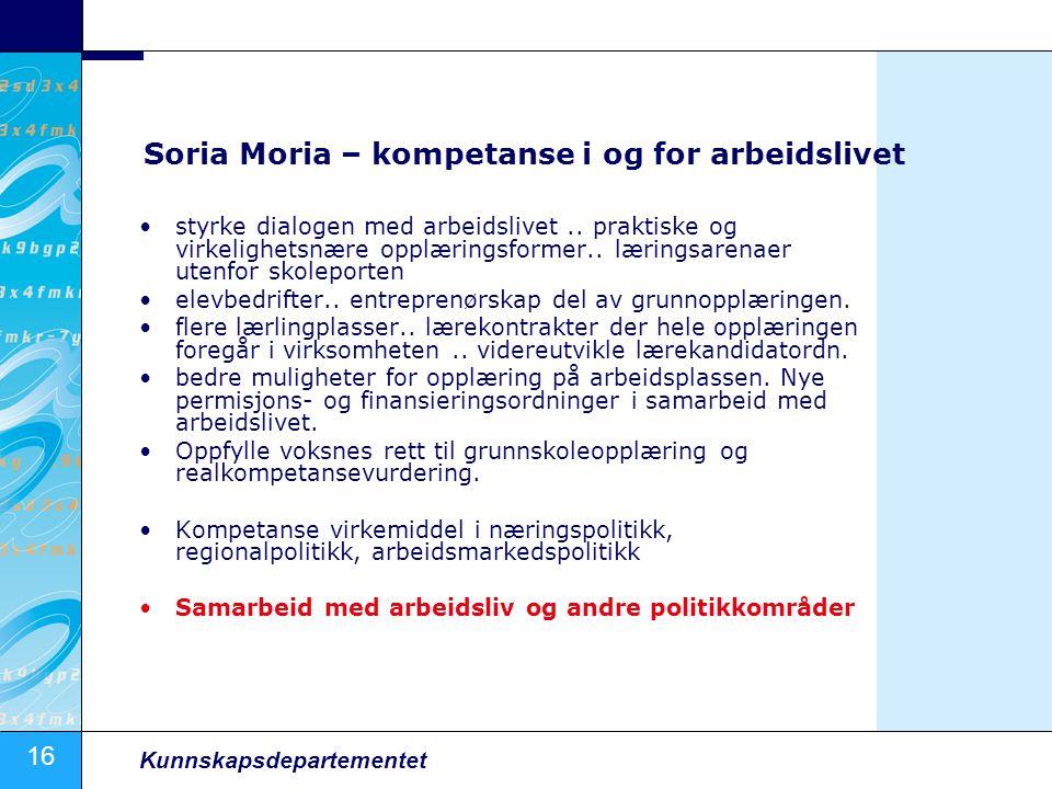 16 Kunnskapsdepartementet Soria Moria – kompetanse i og for arbeidslivet styrke dialogen med arbeidslivet.. praktiske og virkelighetsnære opplæringsfo