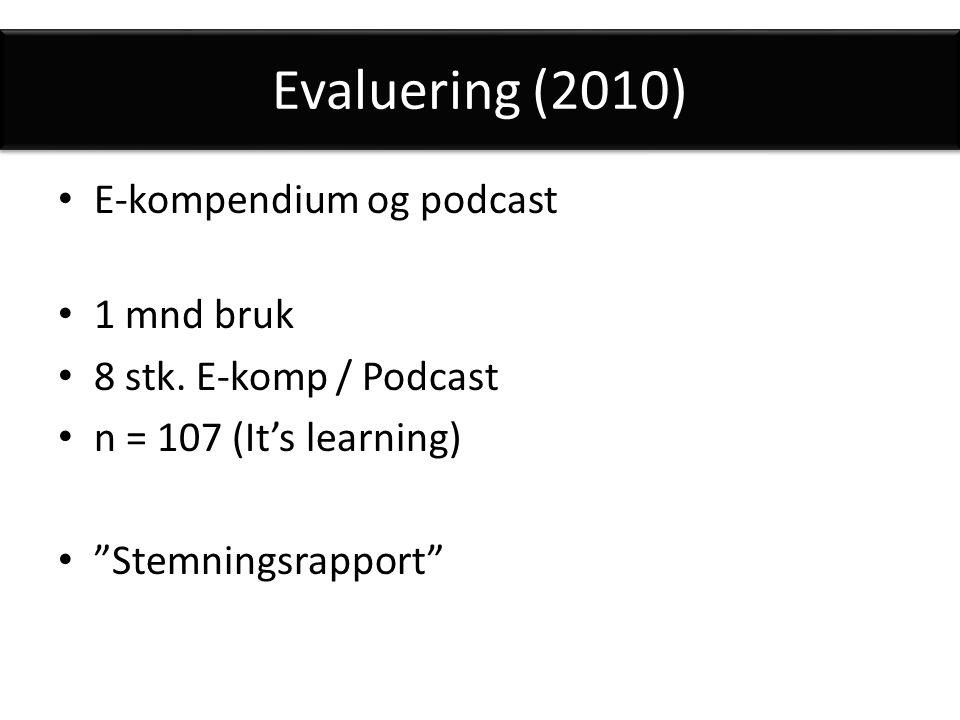 Evaluering (2010) E-kompendium og podcast 1 mnd bruk 8 stk.