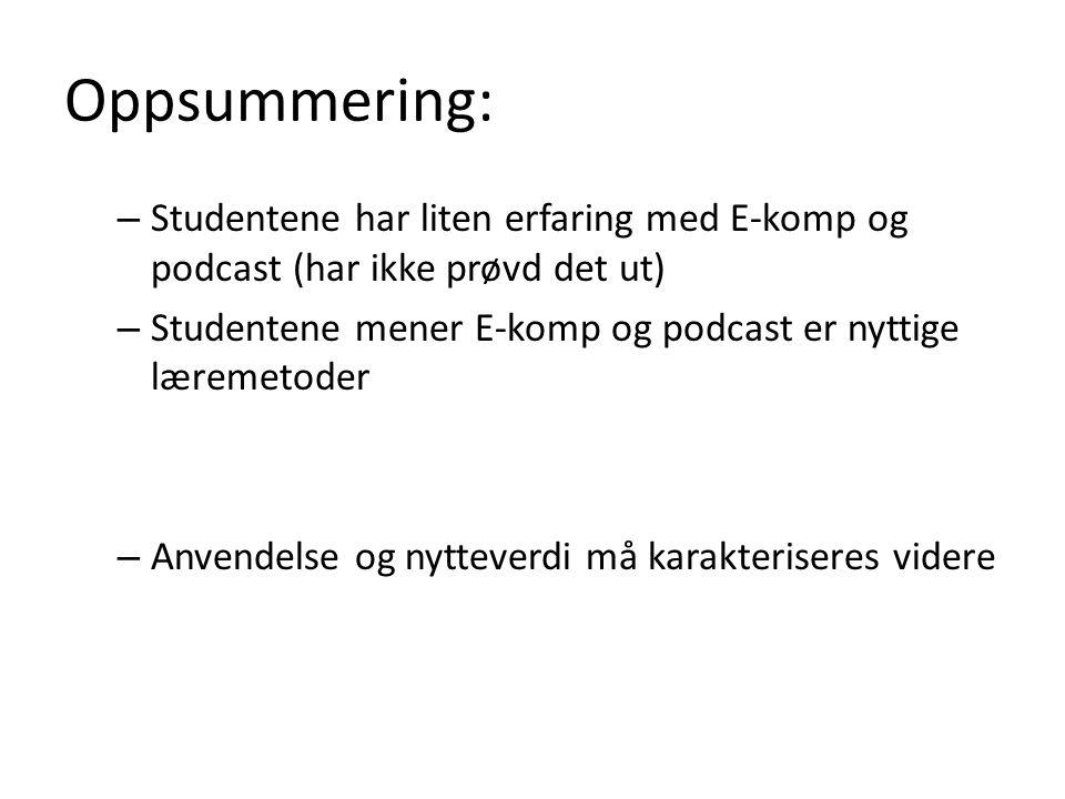 Oppsummering: – Studentene har liten erfaring med E-komp og podcast (har ikke prøvd det ut) – Studentene mener E-komp og podcast er nyttige læremetoder – Anvendelse og nytteverdi må karakteriseres videre