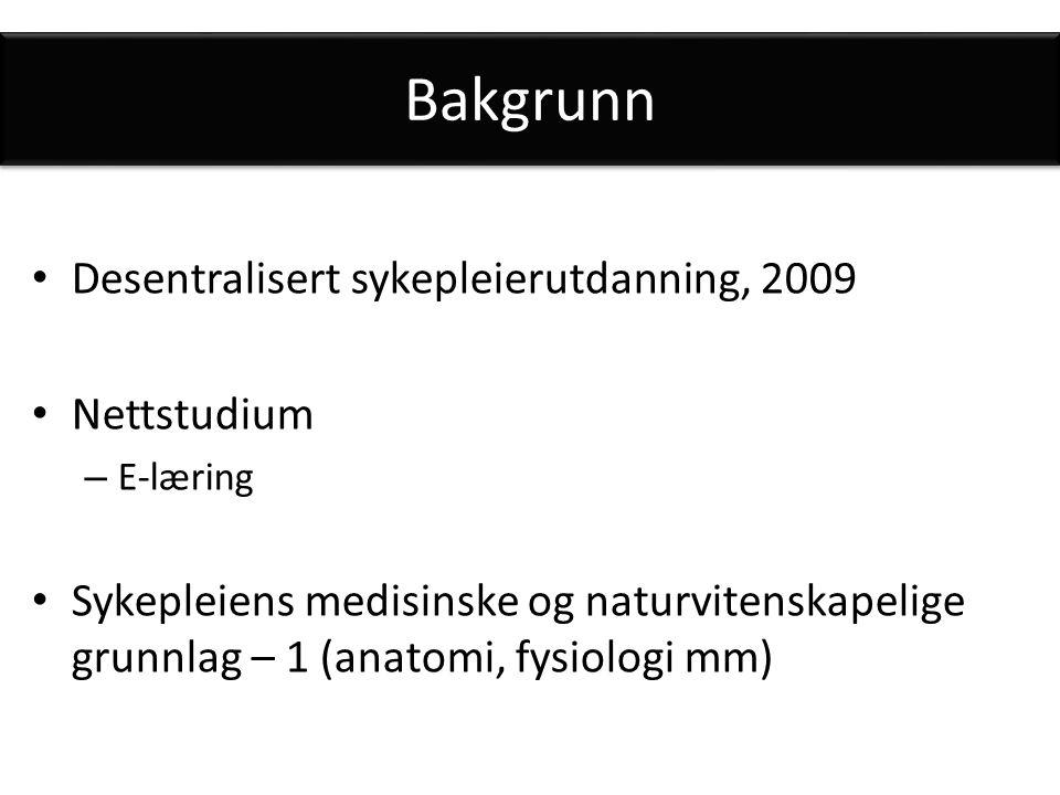 Bakgrunn Desentralisert sykepleierutdanning, 2009 Nettstudium – E-læring Sykepleiens medisinske og naturvitenskapelige grunnlag – 1 (anatomi, fysiologi mm)