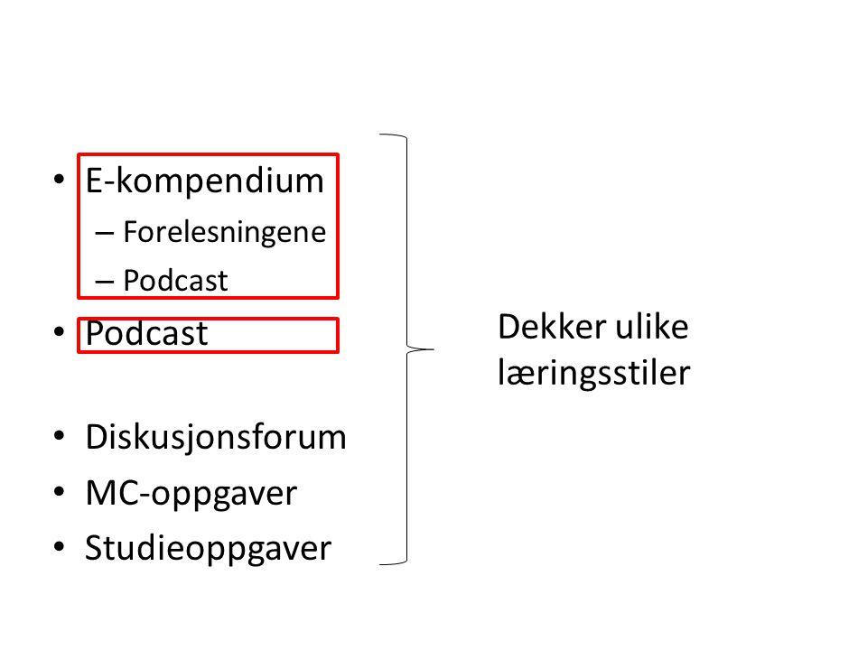 E-kompendium – Forelesningene – Podcast Podcast Diskusjonsforum MC-oppgaver Studieoppgaver Dekker ulike læringsstiler