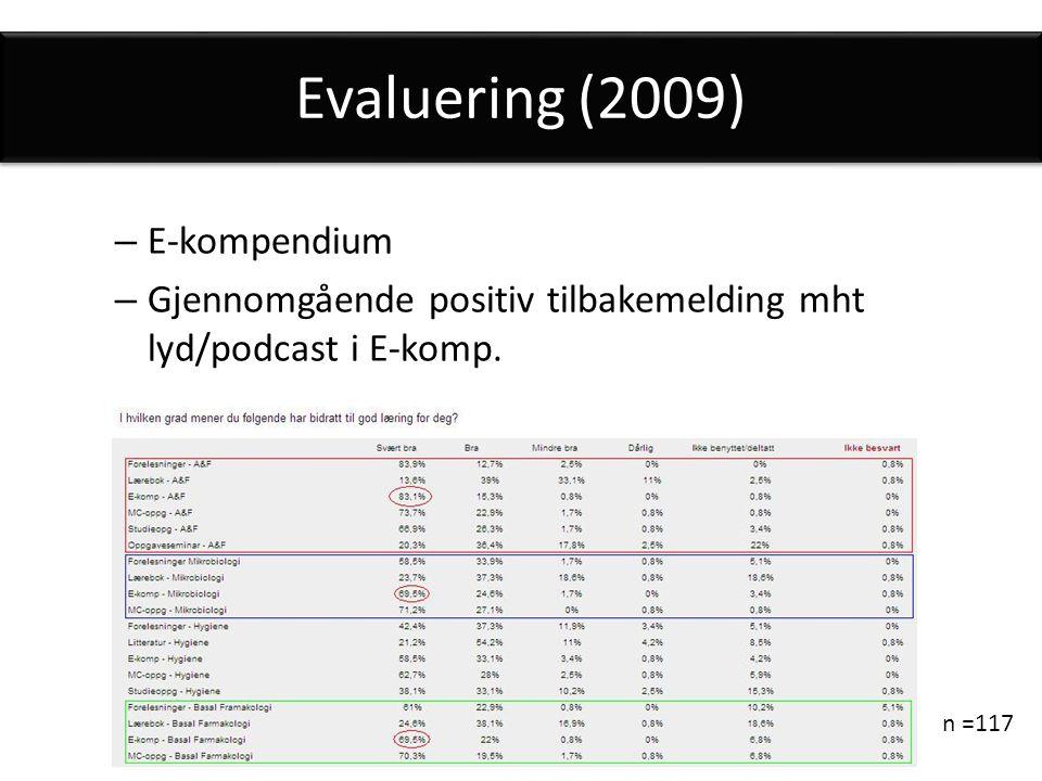 Evaluering (2009) – E-kompendium – Gjennomgående positiv tilbakemelding mht lyd/podcast i E-komp.