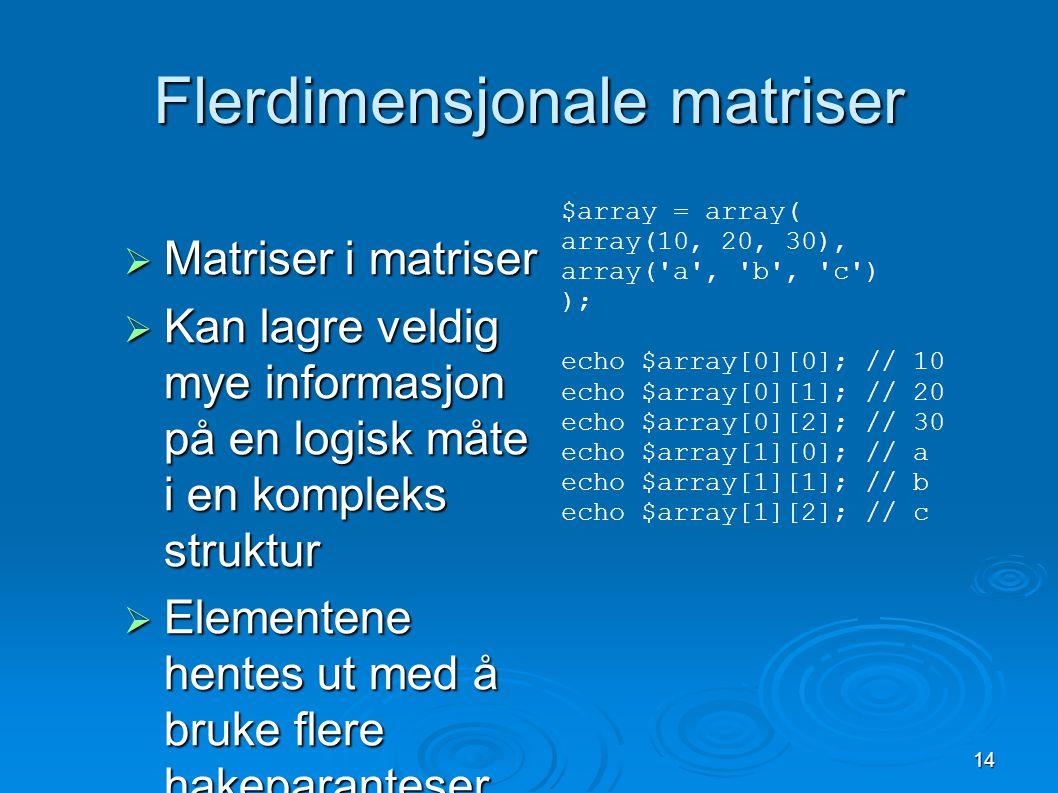 14 Flerdimensjonale matriser  Matriser i matriser  Kan lagre veldig mye informasjon på en logisk måte i en kompleks struktur  Elementene hentes ut med å bruke flere hakeparanteser $array = array( array(10, 20, 30), array( a , b , c ) ); echo $array[0][0]; // 10 echo $array[0][1]; // 20 echo $array[0][2]; // 30 echo $array[1][0]; // a echo $array[1][1]; // b echo $array[1][2]; // c