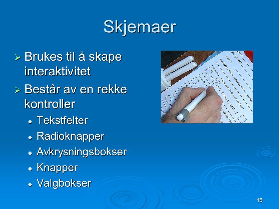 15 Skjemaer  Brukes til å skape interaktivitet  Består av en rekke kontroller Tekstfelter Tekstfelter Radioknapper Radioknapper Avkrysningsbokser Avkrysningsbokser Knapper Knapper Valgbokser Valgbokser