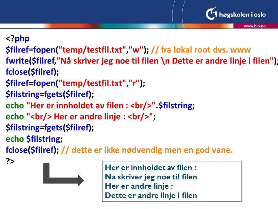 Teller for antall besøkende <?php $filref=fopen( ../temp/teller.txt , r ); $teller=fgets($filref); fclose($filref); $teller++; $filref=fopen( ../temp/teller.txt , w ); fwrite($filref,$teller); fclose($filref); echo Telleren er nå .$teller; ?> Telleren er nå 1 Telleren er nå 2 Telleren er nå 3 Merk for at dette skal fungere må filen eksistere med riktige rettigheter og inneholde en initial verdi (0) Her ligger php filen i en annen katalog på samme nivå som temp