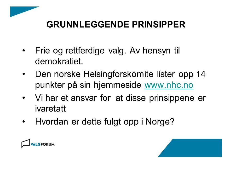 GRUNNLEGGENDE PRINSIPPER Frie og rettferdige valg. Av hensyn til demokratiet. Den norske Helsingforskomite lister opp 14 punkter på sin hjemmeside www